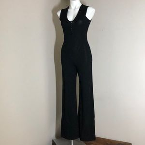 Knit Group E Eysen black vintage jumpsuit 1970's 6